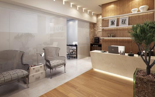 Fotografia-recepção-e-sala-de-espera-clinica-odontológica-moderna-decorada-acabamentos-em-madeira-vaso-de-planta-decorativo-poltronas-ambiente-iluminado-confortável-decorado