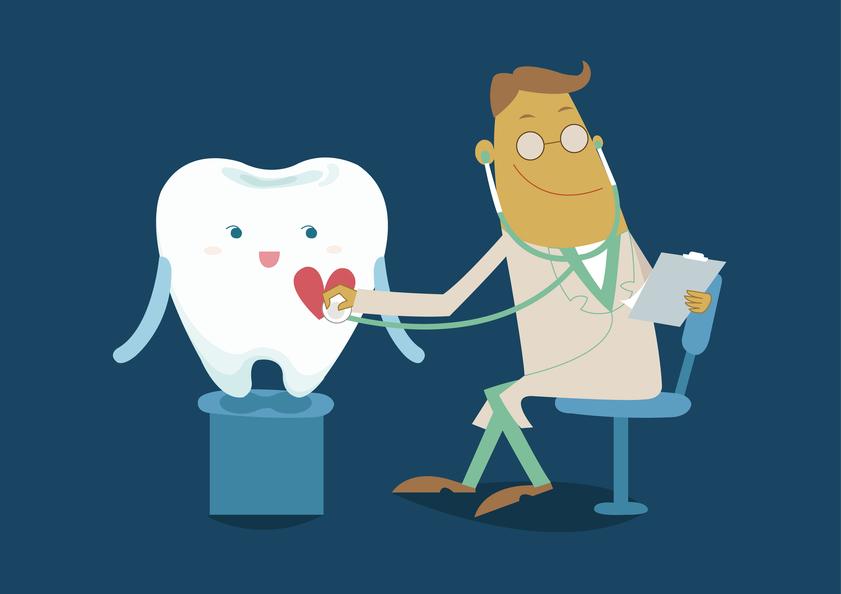 Ilustração-vetorial-do-desenho-de-um-dente-sendo-cuidado-por-um-doutor-no-fundo-azul-marinho